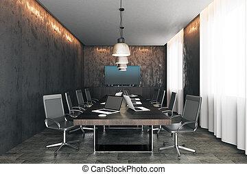 schermi, congegno, moderno, stanza riunione