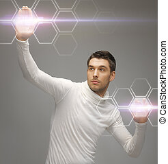 schermi, futuristico, virtuale, lavorativo, uomo