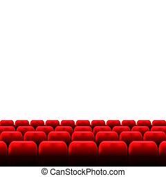 schermo, auditorio, rosso, seats., cinema