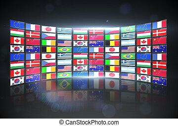 schermo, bandiere, esposizione, internazionale, collage