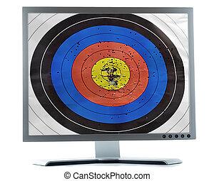 schermo, bersaglio, monitor, scopo