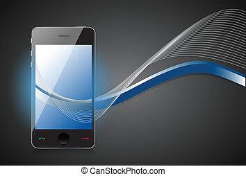schermo blu, smartphone, onde