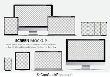 schermo calcolatore, laptop, disegno, vuoto, mockup., smartphone, monitor, tavoletta