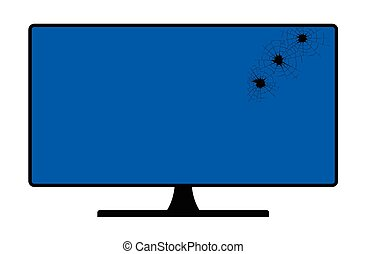 schermo, computer, fori, pallottola