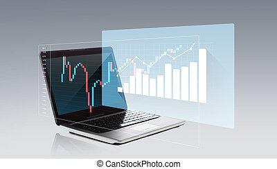 schermo, computer, laptop, grafico