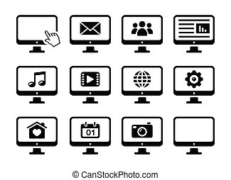 schermo, computer, nero, set, icone