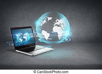 schermo, computer portatile, ologramma, globo