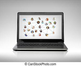 schermo, computer portatile, rete, sociale