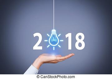 schermo, concetti, innovazione, visuale, 2018, anno, nuovo