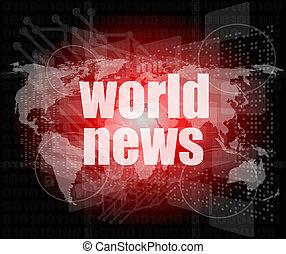 schermo, digitale, parole, notizie, premere, mondo, concept: