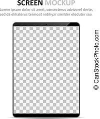 schermo, disegno, mockup., tavoletta, vuoto