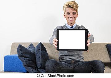schermo, elettronico, mostra, tavoletta, vuoto