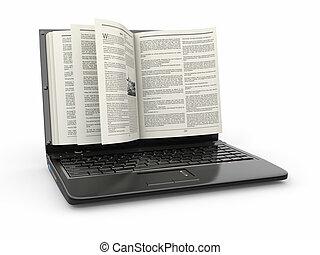 schermo, fondo., libro, e-learning., bianco, laptop