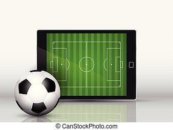 schermo, football, fronte, pece, congegno, calcio, elettronico, o