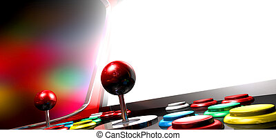 schermo, gioco, arcata, illuminato