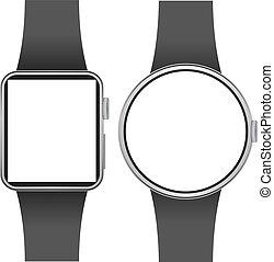 schermo, isolato, smartwatch, fondo., sagoma, vuoto, bianco