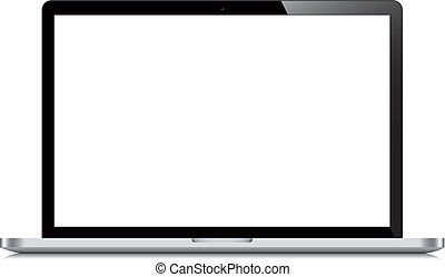 schermo, laptop, aperto, sfondo bianco