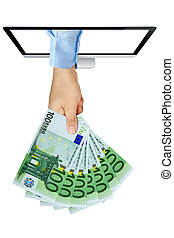 schermo, mano, banconote, ventilatore computer, presa a terra, venuta, 100, euro, fuori