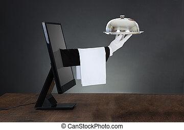 schermo, mano, computer, venuta, waiter's, fuori