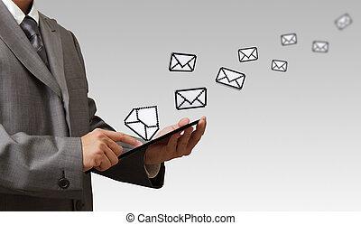 schermo, mano, posta elettronica, computer, tocco, presa,...