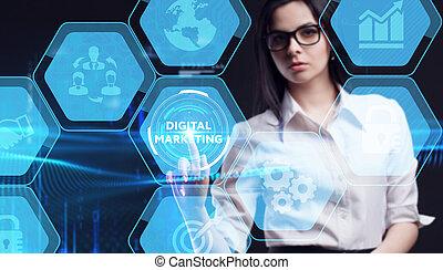 schermo, marketing, virtuale, futuro, concept., tecnologia, uomo affari, internet, lavorativo, rete, giovane, inscription:, affari, digitale, vede