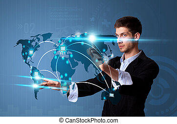 schermo, moderno, bottoni, urgente, tocco, uomo