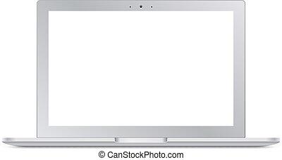 schermo, moderno, laptop, argento, vuoto