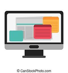 schermo monitor computer, appartamento, icona