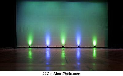 schermo, -, palcoscenico vuoto