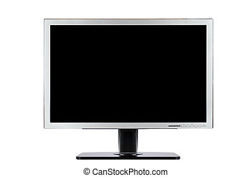 schermo piatto, computer, largo