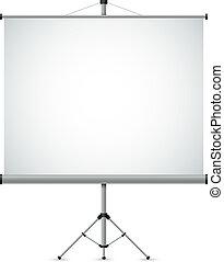 schermo proiezione, vettore, vuoto, bianco, template.