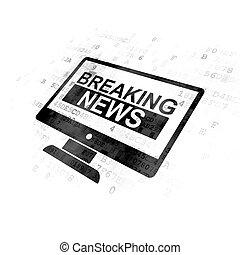 schermo, rottura, fondo, digitale, notizie, concept: