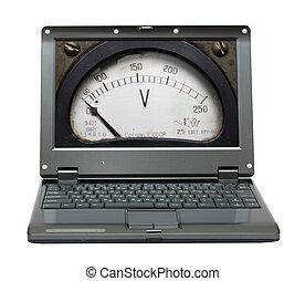 schermo, scala, laptop, voltmeter