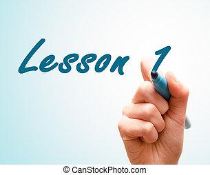 schermo, scrittura, 1, penna, mani, lezione