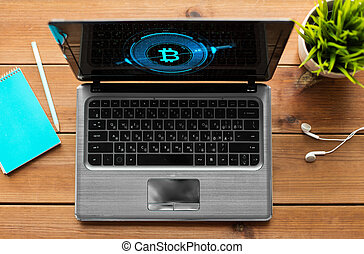 schermo, simbolo, computer, laptop, bitcoin