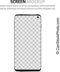 schermo, smartphone, disegno, mockup., vuoto