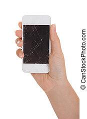 schermo, smartphone, fesso, tenendo mano