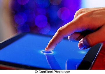 schermo, toccante, dito