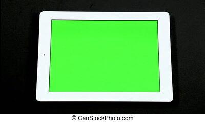 schermo tocco, computer, dito, tavoletta