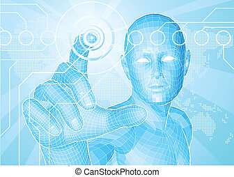 schermo tocco, concetto, futuro, uomo