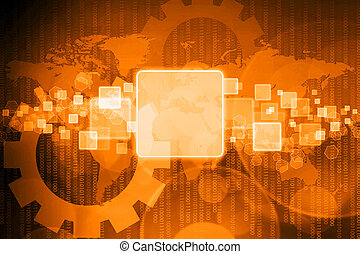 schermo tocco, interfaccia, su, affari, fondo