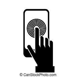 schermo tocco, smartphone, icona