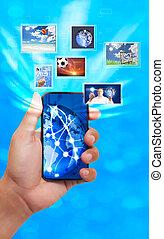 schermo tocco, telefono mobile, con, flusso continuo, immagini