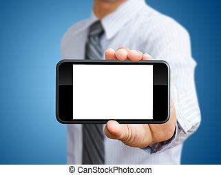 schermo tocco, telefono mobile, in, mano