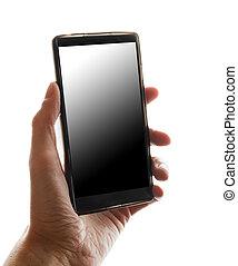 schermo tocco, telefono mobile, in, mano.