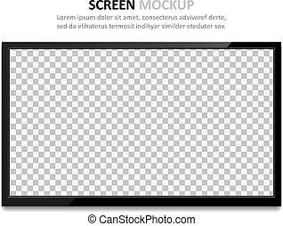 schermo tv, disegno, mockup., vuoto