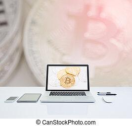 schermo, valuta, computer portatile, bitcoin