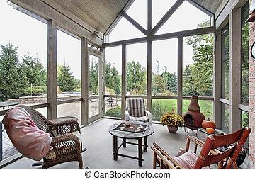 schermo, veranda, con, patio, vista