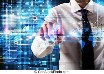 schermo, virtuale, affari, sistema