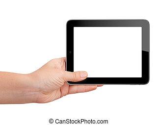 schermo, vuoto, presa a terra, tavoletta, mano
